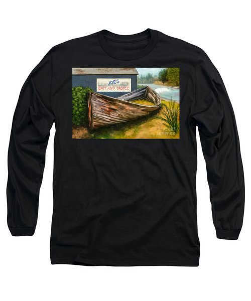 Painting Of Abandoned And Rotted Out Boat   Long Sleeve T-Shirt