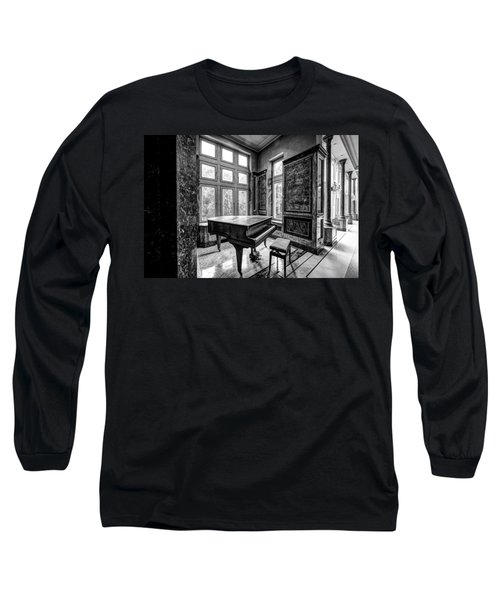 Long Sleeve T-Shirt featuring the photograph Abandoned Piano Monochroom- Urban Exploration by Dirk Ercken