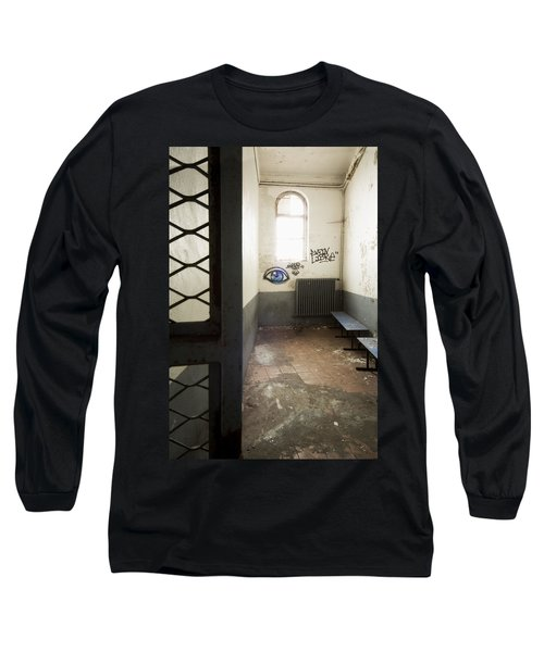 Long Sleeve T-Shirt featuring the photograph Abandoned Prison Cell With Grafitti Of Eye On Wall by Dirk Ercken