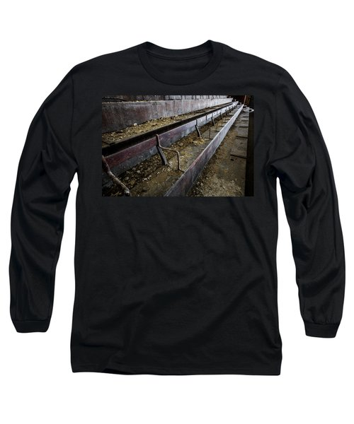 Long Sleeve T-Shirt featuring the photograph Abandoned Theatre Steps - Architectual Abstract by Dirk Ercken