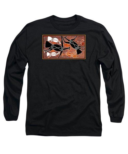 Aboriginal Birds Long Sleeve T-Shirt by Vagabond Folk Art - Virginia Vivier