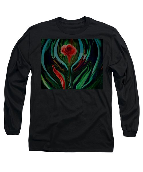 abstract Art The Rose A Symbol Of Love  Long Sleeve T-Shirt by Sherri's Of Palm Springs
