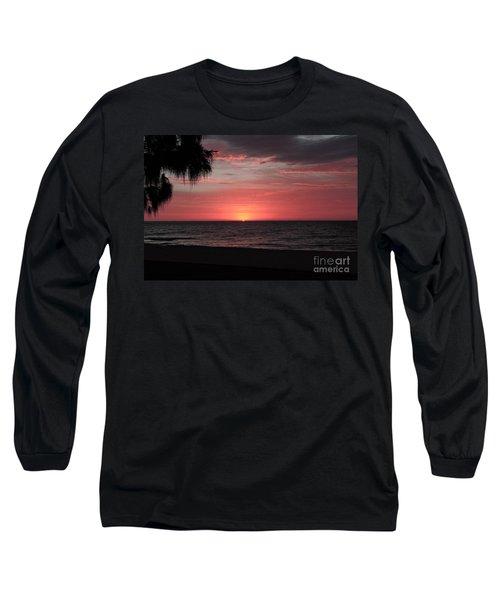 Abstract Beach Palm Tree Sunset Long Sleeve T-Shirt