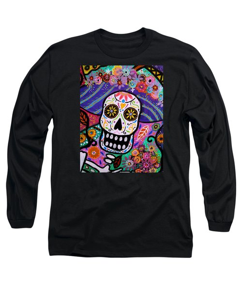 Long Sleeve T-Shirt featuring the painting Abstract Catrina by Pristine Cartera Turkus
