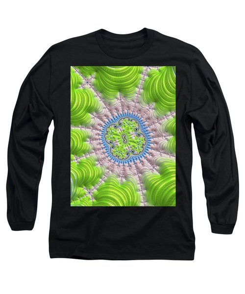 Long Sleeve T-Shirt featuring the digital art Abstract Fractal Art Greenery Rose Quartz Serenity by Matthias Hauser