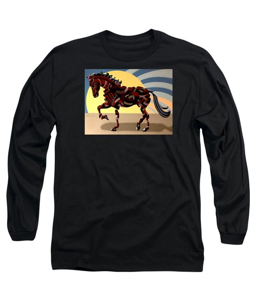 Long Sleeve T-Shirt featuring the painting Abstract Geometric Futurist Horse by Mark Webster