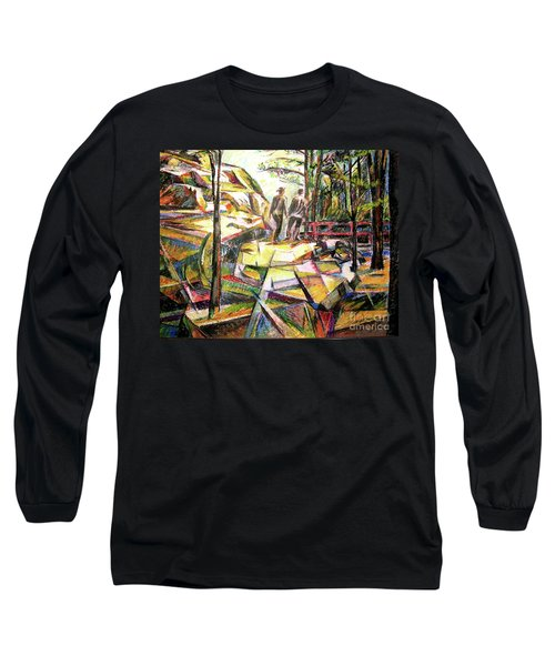 Abstract Landscape With People Long Sleeve T-Shirt by Stan Esson