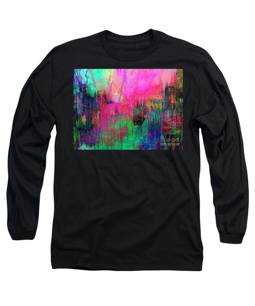 Abstract Painting 621 Pink Green Orange Blue Long Sleeve T-Shirt