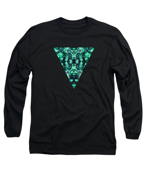Abstract Surreal Chaos Theory In Modern Poison Turquoise Green Long Sleeve T-Shirt