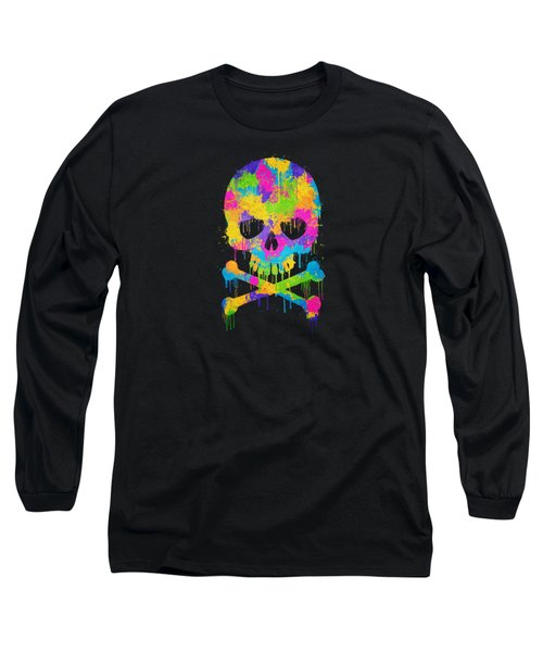 Abstract Trendy Graffiti Watercolor Skull  Long Sleeve T-Shirt