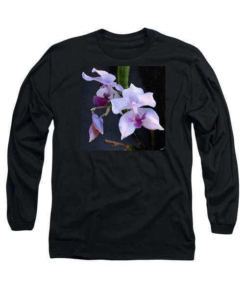 Acacallis Cyanea. Orchid Long Sleeve T-Shirt by Anthony Fishburne