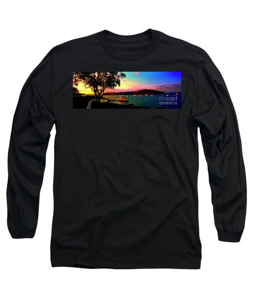 Long Sleeve T-Shirt featuring the photograph  Acadia Bar Harbor Sunset Cruises by Tom Jelen