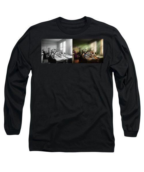 Long Sleeve T-Shirt featuring the photograph Accountant - The- Bookkeeping Dept 1902 - Side By Side by Mike Savad
