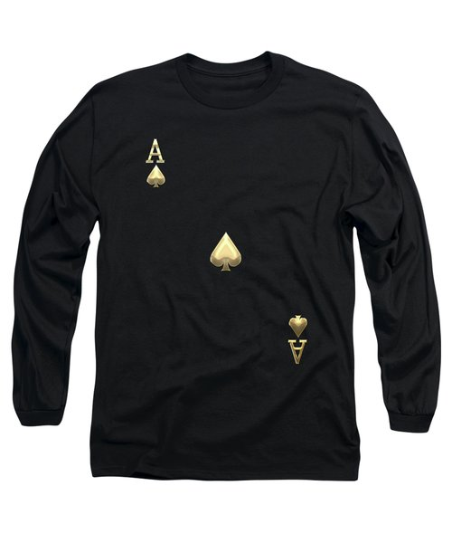 Ace Of Spades In Gold On Black   Long Sleeve T-Shirt by Serge Averbukh