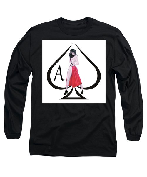 Ace Of Spades3 Long Sleeve T-Shirt by Joseph Ogle