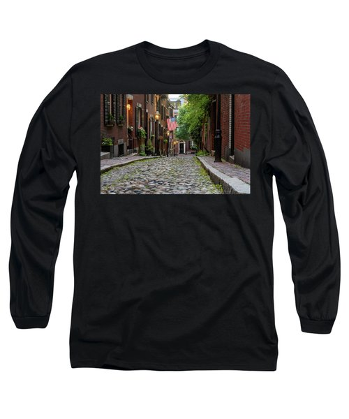 Long Sleeve T-Shirt featuring the photograph Acorn St. Boston Ma. by Michael Hubley
