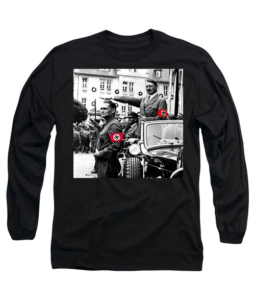 Adolf Hitler Giving The Nazi Salute From A Mercedes #3 C. 1934-2015 Long Sleeve T-Shirt by David Lee Guss