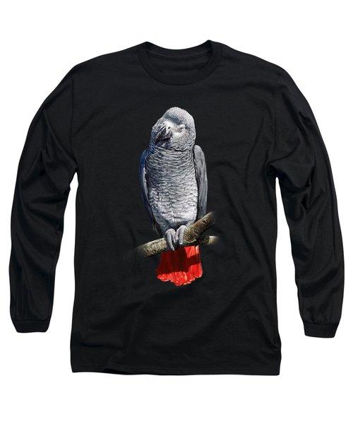 African Grey Parrot C Long Sleeve T-Shirt by Owen Bell