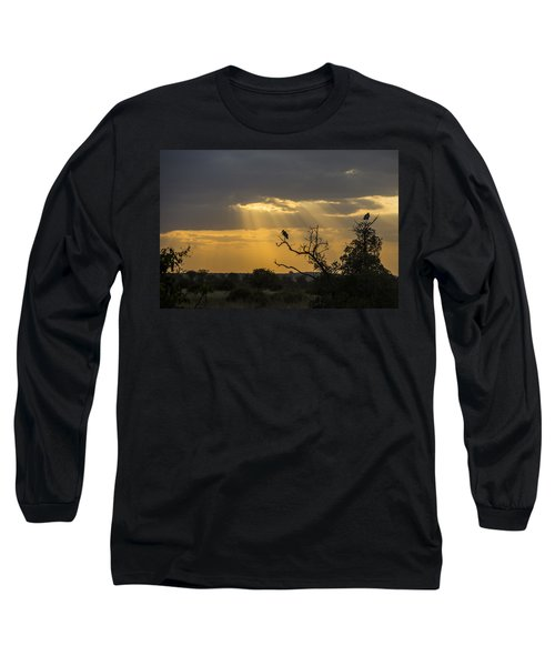 Long Sleeve T-Shirt featuring the tapestry - textile African Sunset 2 by Kathy Adams Clark