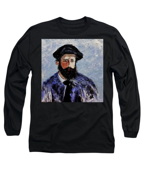 Long Sleeve T-Shirt featuring the painting After Monet-self Portrait With A Beret  by Cristina Mihailescu