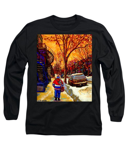 After The Hockey Game A Winter Walk At Sundown Montreal City Scene Painting  By Carole Spandau Long Sleeve T-Shirt