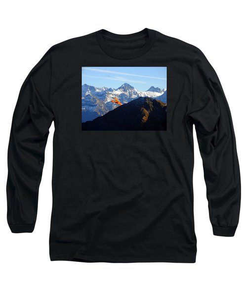 Airplane In Front Of The Alps Long Sleeve T-Shirt by Ernst Dittmar