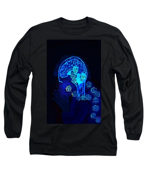 Al In The Mind Black Light View Long Sleeve T-Shirt by Lisa Brandel