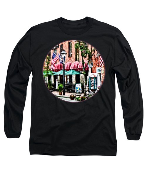 Alexandria Street With Cafe Long Sleeve T-Shirt by Susan Savad