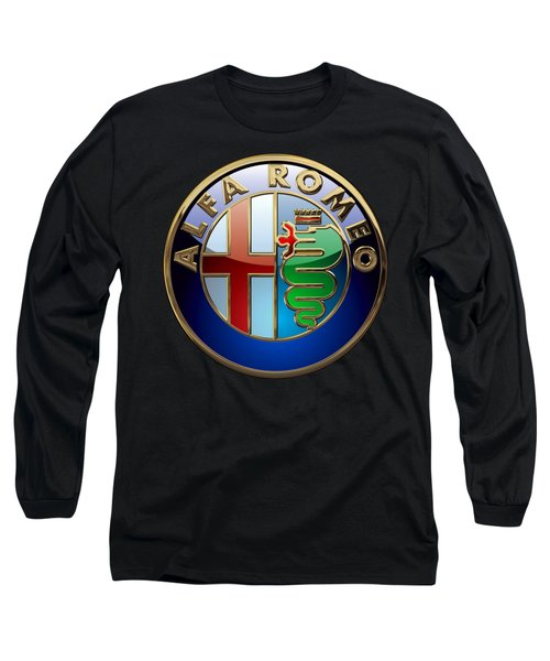 Alfa Romeo  - 3d Badge On Black Long Sleeve T-Shirt by Serge Averbukh