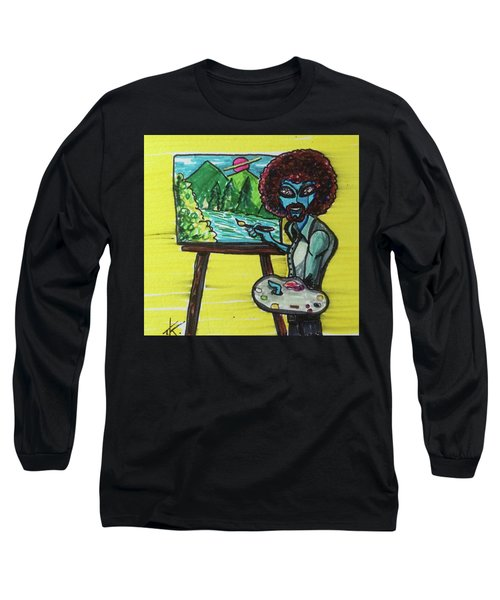 alien Bob Ross Long Sleeve T-Shirt by Similar Alien