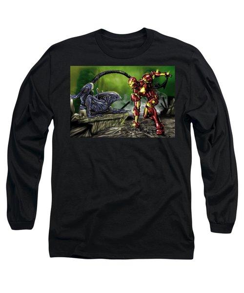 Alien Vs Iron Man Long Sleeve T-Shirt