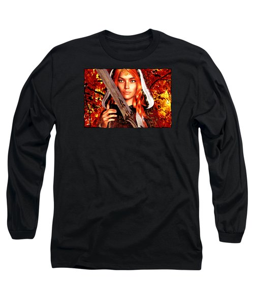 Long Sleeve T-Shirt featuring the painting All Souls Day Saint Dymphna by Suzanne Silvir
