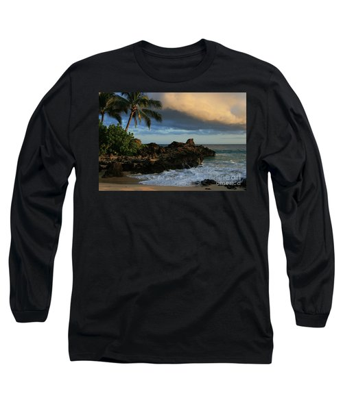 Aloha Naau Sunset Paako Beach Honuaula Makena Maui Hawaii Long Sleeve T-Shirt by Sharon Mau