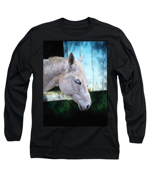 Long Sleeve T-Shirt featuring the mixed media Alone  by Aaron Berg