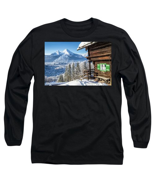 Alpine Winter Wonderland Long Sleeve T-Shirt by JR Photography