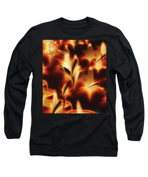 Long Sleeve T-Shirt featuring the digital art Amber Dreams by Paula Ayers