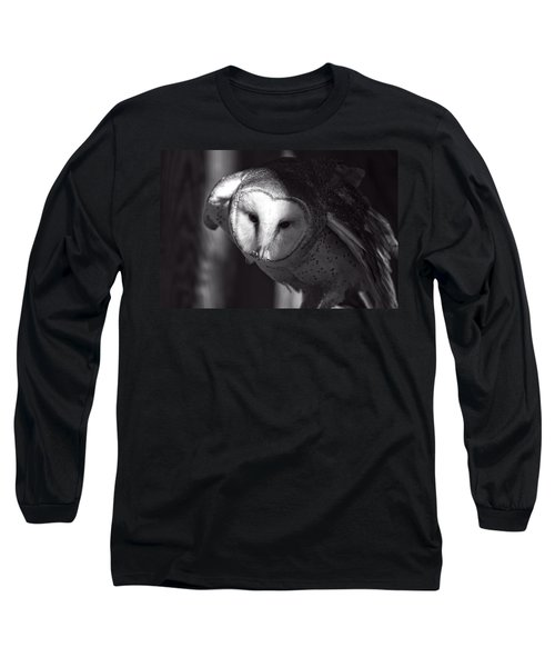 American Barn Owl Monochrome Long Sleeve T-Shirt
