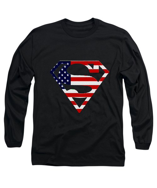 American Flag Superman Shield Long Sleeve T-Shirt by Bill Cannon