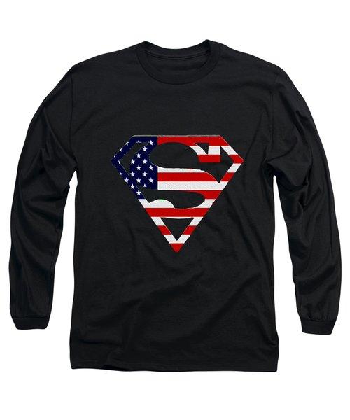 American Flag Superman Shield Long Sleeve T-Shirt