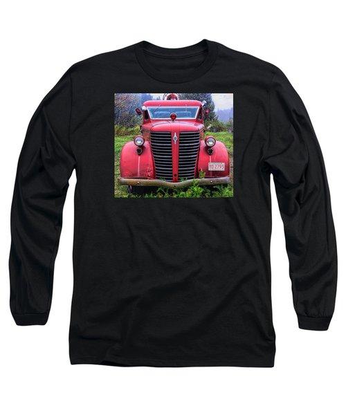 American Foamite Firetruck1 Long Sleeve T-Shirt by Susan Crossman Buscho