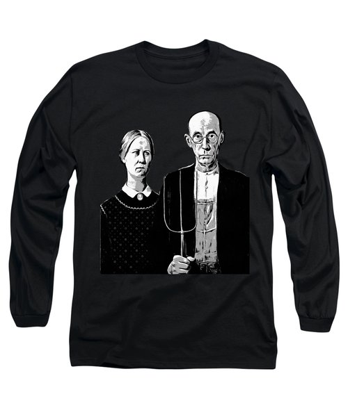 American Gothic Graphic Grant Wood Black White Tee Long Sleeve T-Shirt
