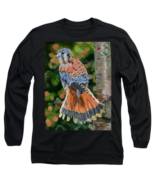 American Kestrel In My Garden Long Sleeve T-Shirt