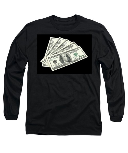 American Money On Black Background Long Sleeve T-Shirt