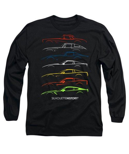American Sports Car Silhouettehistory Long Sleeve T-Shirt