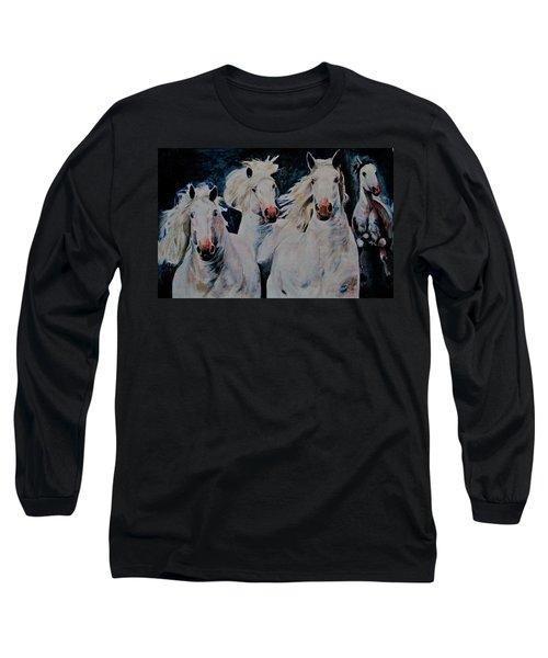 American White Long Sleeve T-Shirt by Khalid Saeed