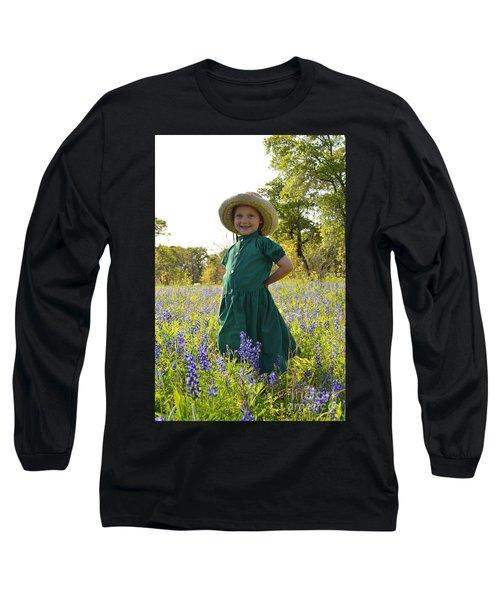 Amish Girl And Blue Bonnets I Long Sleeve T-Shirt