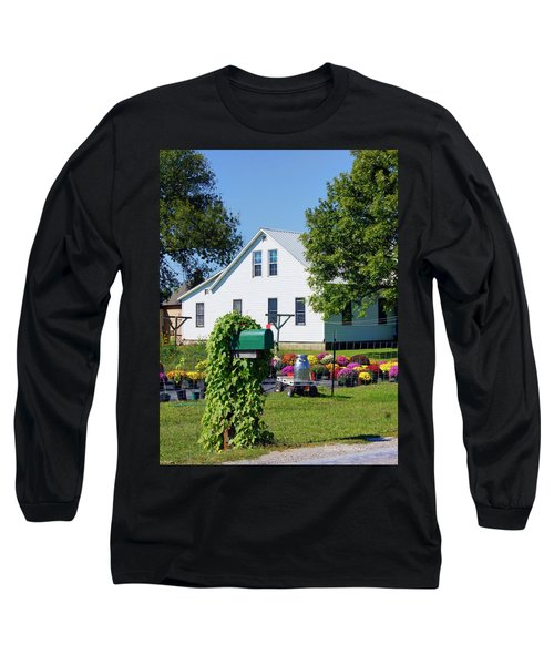 Long Sleeve T-Shirt featuring the photograph Amish House With Mums by Cricket Hackmann