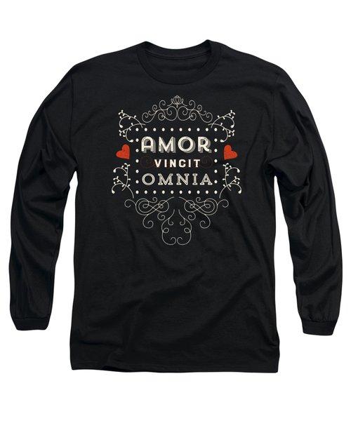 Amor Vincit Omnia Chalkboard Style Long Sleeve T-Shirt