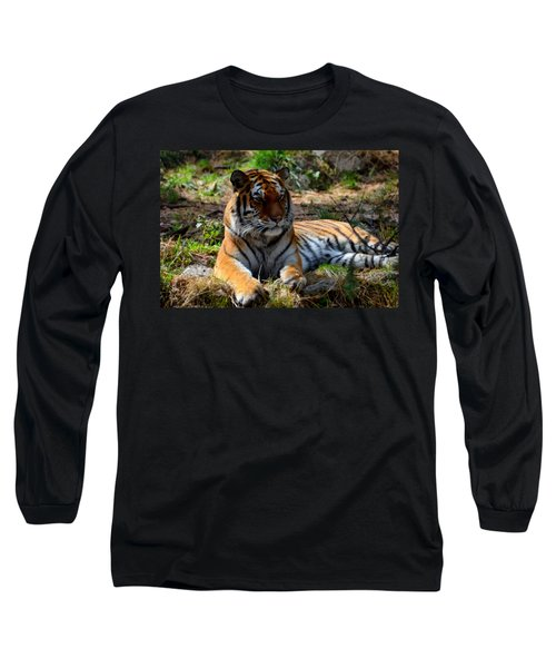 Long Sleeve T-Shirt featuring the mixed media Amur Tiger 1 by Angelina Vick
