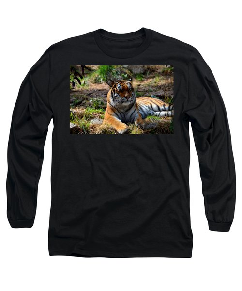 Long Sleeve T-Shirt featuring the mixed media Amur Tiger 10 by Angelina Vick